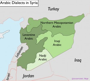 Map of Arabic Dialects in Syria