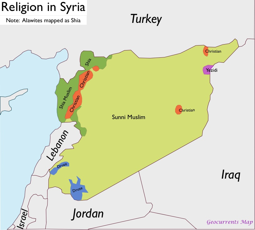 Image result for religious map of syria