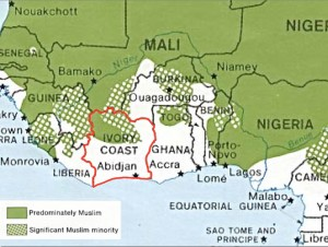 Map of Islam in Ivory Coast
