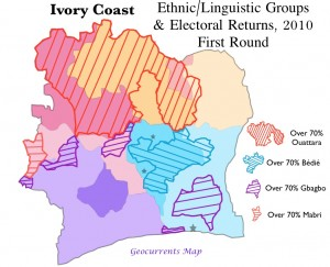 Map of ethnic groups and electoral returns, Ivory Coast