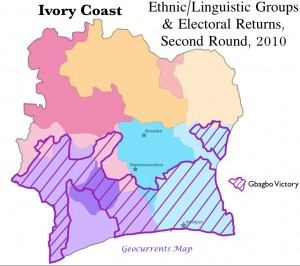 Ivory Coast ethnic election map