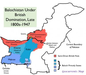 Map of Political Divisions in British Balochistan