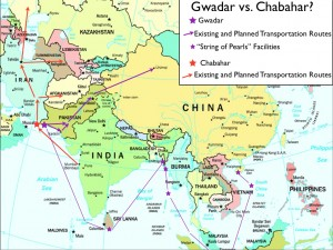 Map of the rivalry between Chabahar and Gwadar