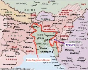 Map of the India-Bangladesh Border