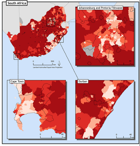 Levels of Inequality in South Africa and its cities