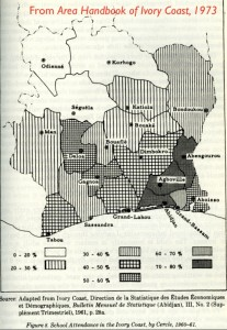 Map of Education in Ivory Coast, 1960