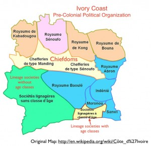 Map of pre-colonial polities in Ivory Coast