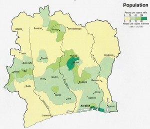 Map of population density in Ivory Coast, 1965