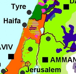 M. Izady's map of religion in northern Israel and environs