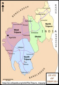 Map of the Indian State of Tripura
