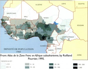 Map of population density in West Africa, 1960