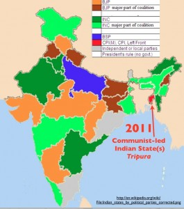 Map of Indian states by party of government, 2011