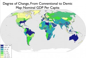 Degree of Per Capita GDP Change, State-Baseed and Demic Frameworks