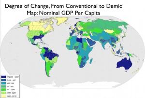 Degree of Per Capita GDP Change, State-Baseed and Demic Frameworks