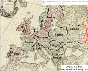 Modified Map of Europe  from 1751