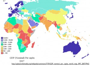 Wikipedia map of nominal per capita GDP, 2007