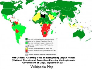 Map of UN Vote on Recognizing Libyan Rebels