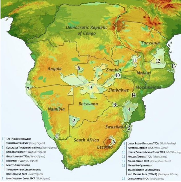 Africa Map Geography.International Boundaries Peace Parks And Elephants In Southern