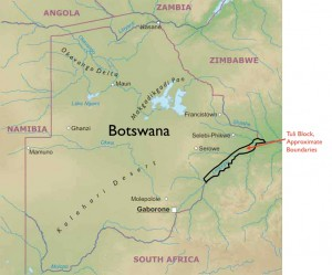 Map of Tuli Block in Botswana