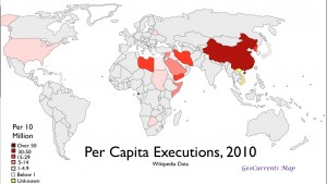 Map of per capita executions in 2010