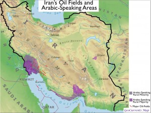 Map of Iran's Major Oil Fields and Its Arabic-speaking population