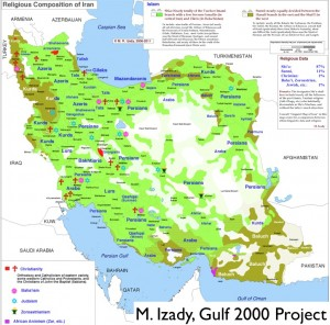 M. Izady's Map of Religion in Iran, Gulf 2000 Project