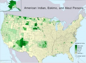Map of Native Americans by County