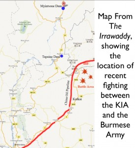 Map of Recent Kachin Battles in Burma, from The Irrawaddy