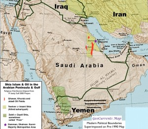 Map of Shia Islam and Oil in Saudi Arabia