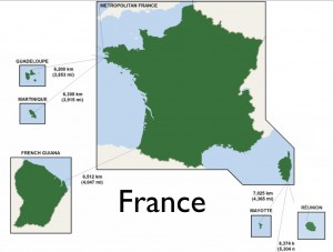 Modified Wikipedia map of France with its Overseas Departments