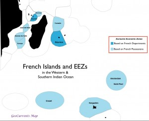 Map of French Islands and Exclusive Economic Zones in the Western Indian Ocean