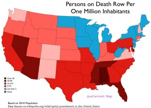 Map of Per Capita Death Row Figures by State, USA