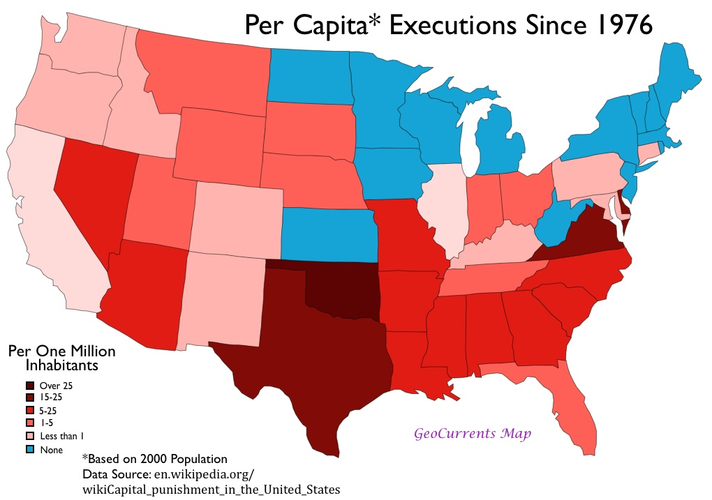 Map Of Executions In The Us By State Per Capita