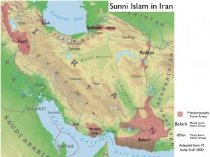 Physical Map Showing Areas of Sunni Islam in Iran