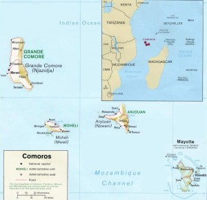 Map of the Comoros Including Mayotte