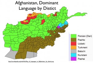 Map of Major Languages by District in Afghanistan