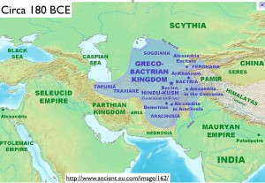 Map of the Greco-Bactrian Kingdom in Afghanistan and Environs, Circa 180 BCE