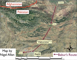 "Nigel Allan's Map of Babur's Use of the Term ""Afghanistan"""