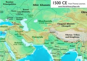 Thomas Lessman's Map of 1500, Showing Uzbek Khanate