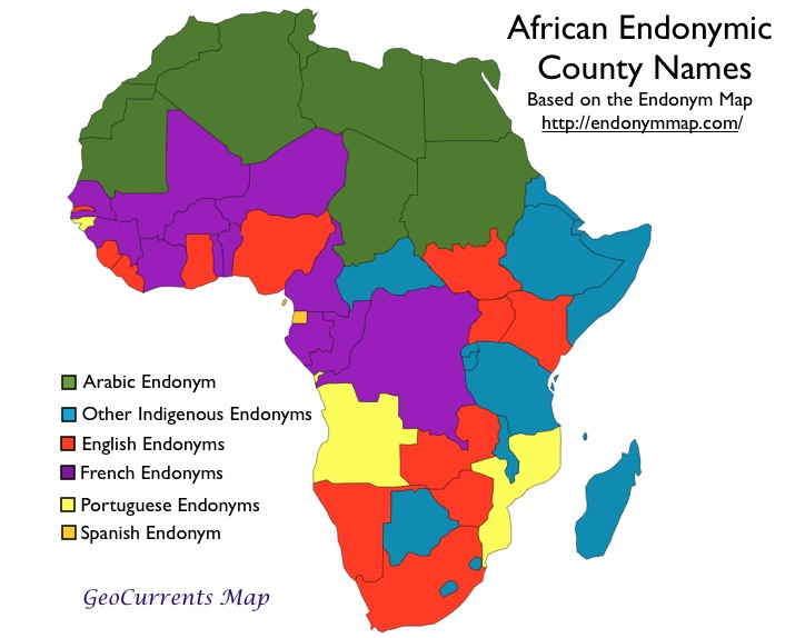 African country names in indigenous languages geocurrents map of african country endonyms by language gumiabroncs