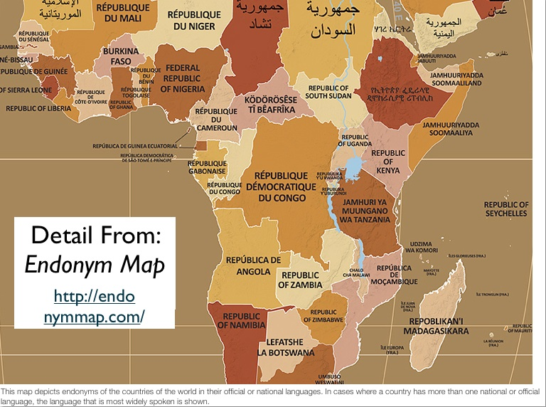 African country names in indigenous languages geocurrents africa in the endonym map gumiabroncs Choice Image