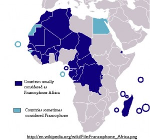 Wikipedia Map of Francophone Africa