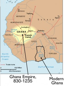 Map Showing Modern Ghana and the Old Empire of Ghana