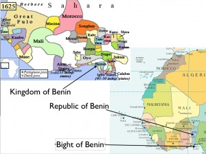 Map Showing Modern benin and the Old Empire of Benin