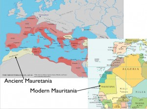 Map Showing Modern Mauritania and Ancient Mauretania