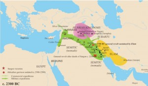 Map of Hurrian Kingdoms and Neighbors, Circa 2300 BCE