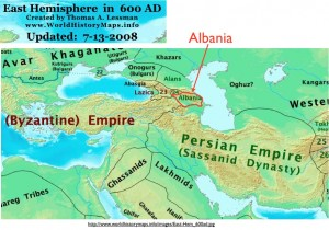 Map of Albania in the Caucasus and Neighboring Kingdoms, Circa 300 CE