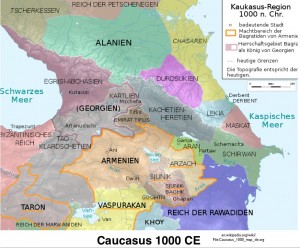 German map of the Kingdoms of the Caucasus, Circa 1000 CE