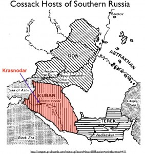 Map of Kuban Cossacks