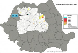 Modified Wikipedia map of Armenians in Transylvania 1850